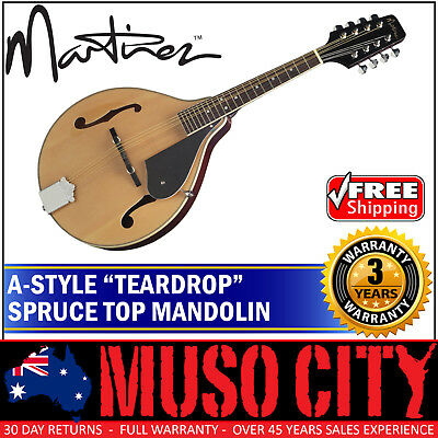 New Martinez A-Style 8 String Spruce Top Teardrop Mandolin (Natural Gloss)