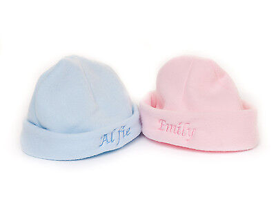 Personalised Embroidered Fleece Newborn Baby Hat Pink or Blue