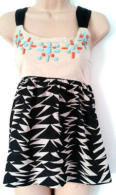NEXT summer ladies girls black triangle print cotton top RRP £28 SIZE 12- SIZE20