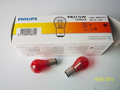 KIT 2 LAMP LAMPADE PHILIPS PR21/5W 12V 5/21W COLORE ROSSO LUCE STOP BAW15d 12495
