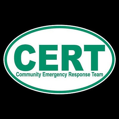 CERT Community Emergency Response Team Non Reflective Oval Decal