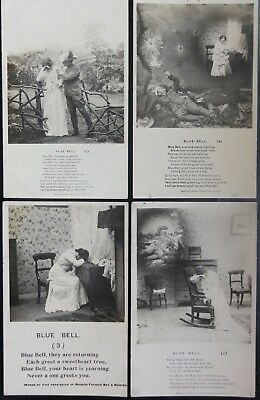 BLUE BELL: Bamforth Real Photograph Song Cards Set of 4
