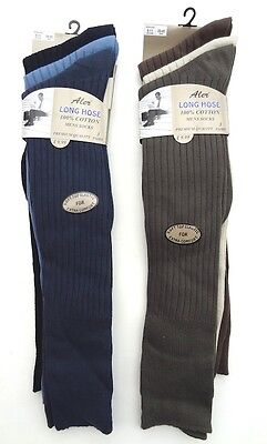 Mens Aler LONG HOSE 100% Cotton Mixed Colour Socks - Size UK 6-11