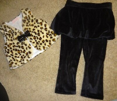 Girls Matching Two Piece Set Leopard Print Faux Fur Vest Black Pants Skirt Sz. 4