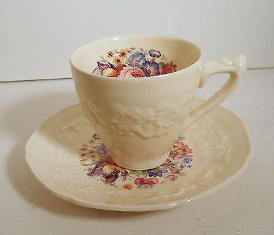 """Crown Ducal England China """"gainsborough""""  Floral Bouquet Demitasse Cup & Saucer"""