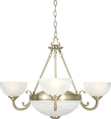 Windsor Antique Brass Five Light Ceiling Light With Alabaster Glass Shades 5x40W