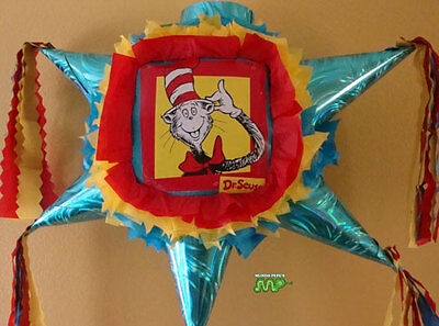 Pinata Cat In The Hat Dr Seus Pinata Star Shape Festive Holds 2 to 5 Pounds
