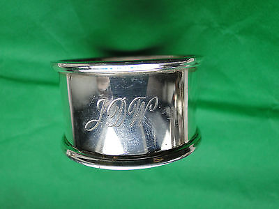 Napkin Ring Heavy Gage Sterling Silver Art Deco London 1989, Great Shape, Marked