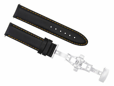 24Mm Smooth Leather Watch Strap Band Deployment Clasp For Baume Mercier Black Os