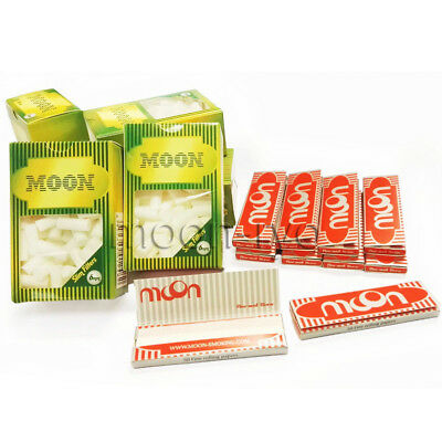 10 Booklets Moon Red Cigarette Tobacco Rolling Papers 70*36mm 500 Leave 500 tips