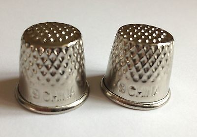 2 X Sewing Metal Thimbles Grip Finger Protector For Pins And Needles Tailor Use