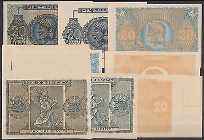 Bank Of Greece #323 1944 Inflation Issue Progressive Proofs (8) Hv5486