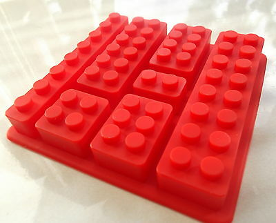 Multi Lego Brick Silicone Chocolate Jelly Cake Soap Mold Mould Party Novelty Red