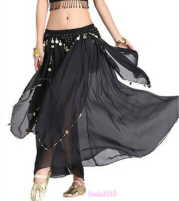 New Dancing Costume Skirt Belly Dance Costume skirt with gold cions 13 Colours