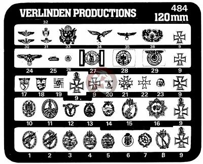 Verlinden 120mm (1/16) US and German Uniform Insignia WWII [Photo-etch] 484