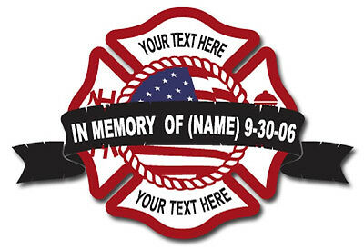 "Maltese Cross Custom Memorial 3"" Reflective Decal In Memory Fallen Firefighter"