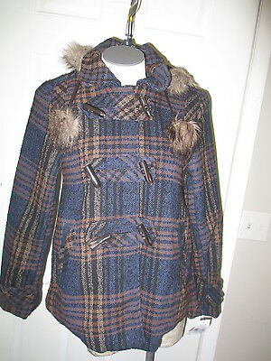 Dollhouse Toggle Button Wool Blend Hooded Jacket Small Blue& Brown Plaid NWT