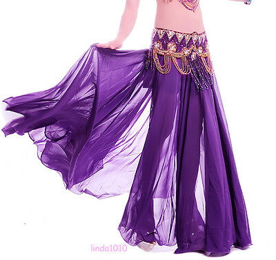 New Belly Dance Costume Advanced Chiffon with 2 side Slit Skirt Dress 12 Colors