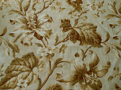Antique French Floral Soft Challis Cotton Fabric Lily Floral~Olive Brown Ochre