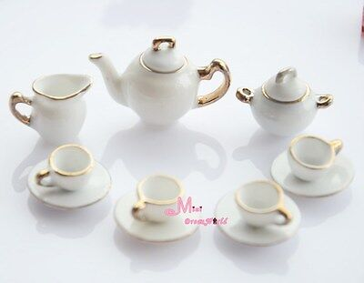 Dollhouse Miniature White porcelain China Coffee Tea Lid Pot Cups Set 11 PCS