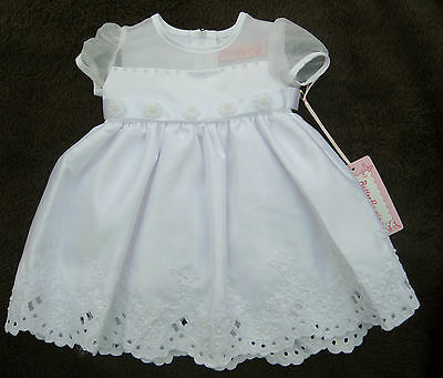 Girls Christening Baptism Wedding Bridesmaids Party Pearl Detail Scalloped Dress
