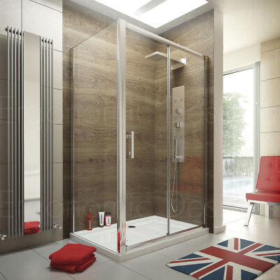 1400 x 900 Sliding Door Shower Enclosure Glass Cubicle with Stone Tray and Waste