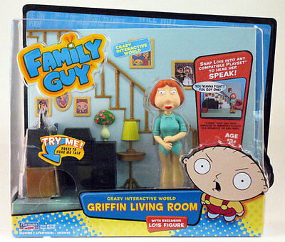 Family Guy Interactive Griffin Living Room + Lois Figure Brand New Great Gift