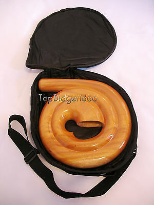 "Travel Compact Spiral Didgeridoo+BAG 69""! Handcarved Mahogany swirl snail shell"