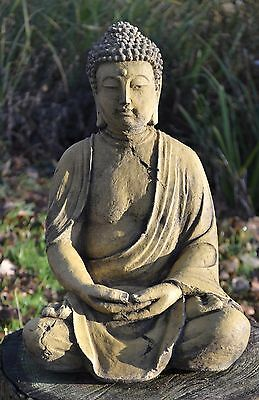 "Buddha statue stone seated meditating Thai home or garden ornament 38cm/14""H"