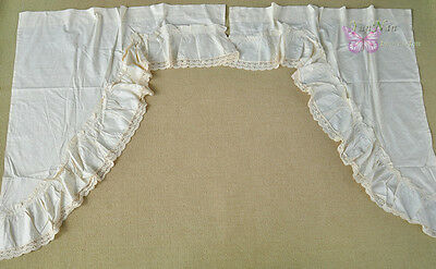 Lovely vintage Ecru Cotton and hand crochet lace Door Curtains 1 pair