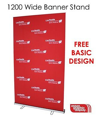 NEXT DAY ROLLER BANNER EXHIBITION STAND 1.5M 150CM WIDE NEW WITH QUALITY GRAPHIC