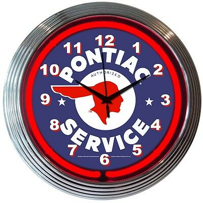 neon clock sign Pontiac Service dealership Man cave garage lamp mechanic gift