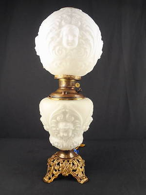 1890'S P.L.B. & G. CO. 'BABY FACE' CLEAR SATIN KEROSENE OIL GWTW OR PARLOR LAMP