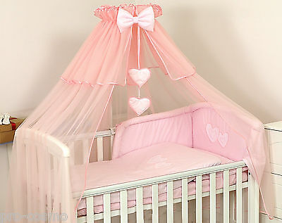 Luxury Pink Cotbed Cot Canopy Drape Big 485cm+ Holder /Freestanding/ Baby Girl