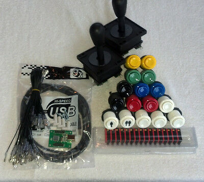 2 Player USB, mame, arcade parts kit includes: 2 joysticks, 16 buttons