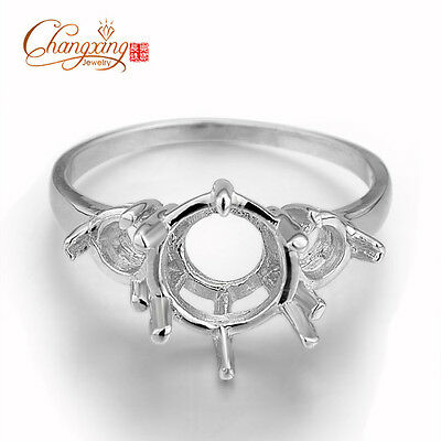 925 Sterling Silver 3 Round Stones Semi Mount Ring Setting Free Shipping