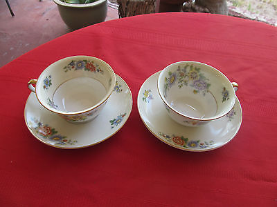 KPM GERMANY 27380 FLORAL SPRAY CREAM RIM W GOLD 2  cups & 2 saucers