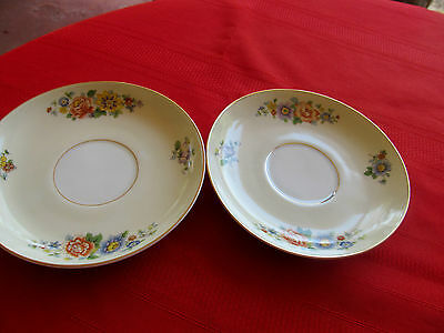KPM GERMANY 27380 FLORAL SPRAY CREAM RIM W GOLD   2 saucers 5 7/8""