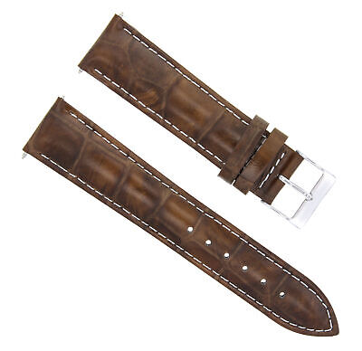 18Mm Leather Watch Band Strap For Girard Perregaux Light Brown  White Stitching