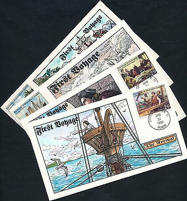 """#2620-2623 (4) Diff. Fdc Hand Painted Cachet By Collins """"columbus"""" Bq4413"""