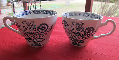 """J G MEAKIN ENGLAND IRONSTONE BLUE NORDIC BLUE ONION  2 cups  3 1/2"""" d, 2 3/4"""" h"""