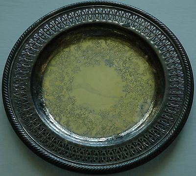 Oneida Silverplate Ornate Design Tray/Plate Signed on Back Rogers by Oneida USA