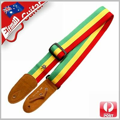 Guitar Strap Cotton Webbing Genuine Leather Head Acoustic Electric Bass Jamaica