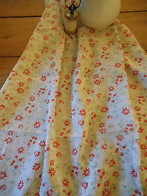 Antique Vintage French Light Weight Cotton Fabric~Soft sage/aqua red~dolls bear