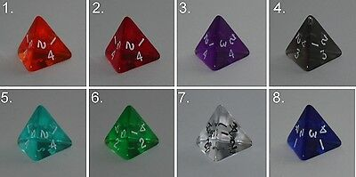 Würfel-Dice-Gem W4-Tranparent-Rollenspiel-Lifecounter-Tabletop-RPG-d20-New-Neu