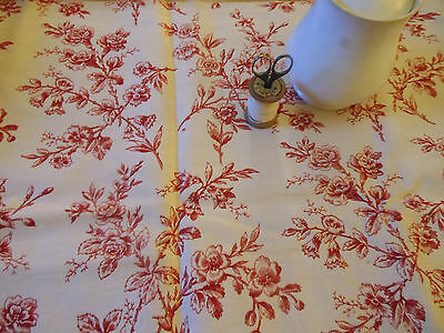 Antique French Floral Toile  Fabric~ Red Cream~Pillows Totes projects