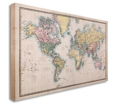 Vintage World Map Countries Style Wall Picture Prints Canvas Art