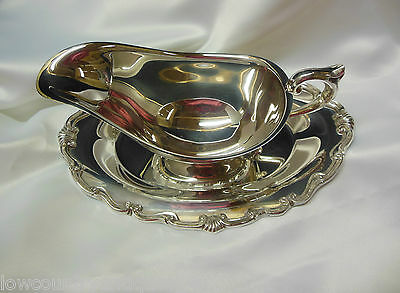 F.B. Rogers Georgetown Pattern Silverplate Gravy Boat With Attached Underplate