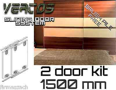 Sliding WardrobeTrack gear kit DIY set  wardrobe 3 colours track 1500mm 2 doors