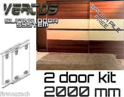Sliding WardrobeTrack gear kit DIY set  wardrobe 3 colours track 2000 mm 2 doors